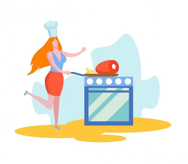 Kobieta postaw patelnię z ogromnym kawałkiem mięsa na piekarniku