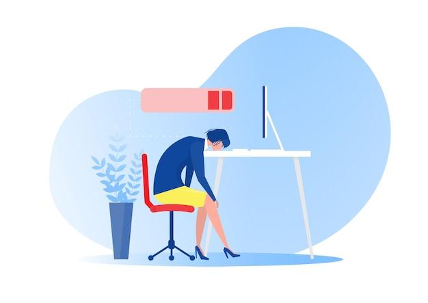 Kobieta pracownik biurowy spanie przy stole z niskim poziomem naładowania baterii. zespół, problemy ze zdrowiem psychicznym, wektor koncepcja ciężkiej pracy