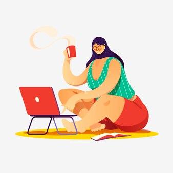 Kobieta pracująca na laptopie.