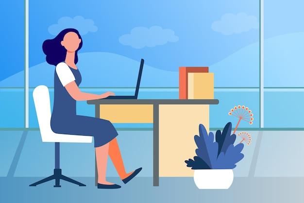 Kobieta pracująca w biurze. pracownik, pracownik, kierownik, ilustracja wektorowa płaskie wnętrze. miejsce pracy, zawodowe, biznesowe