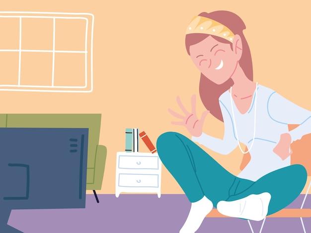 Kobieta pracująca zdalnie ze swojego domu ilustracji
