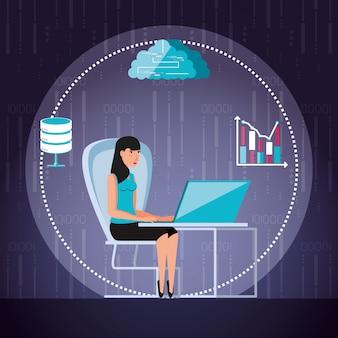 Kobieta pracuje i ustawia ikony biznesowe