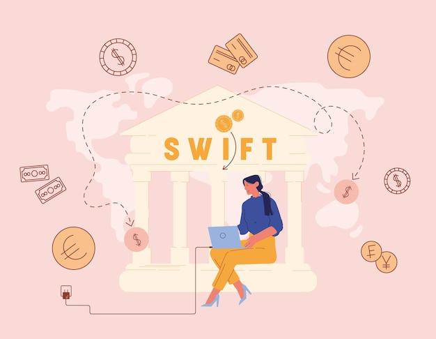 Kobieta pracuje na komputerze w budynku banku