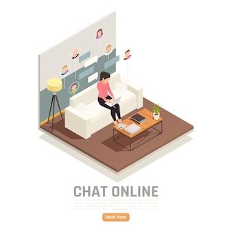 Kobieta pracuje na laptopie w domu i rozmawia z pracownikami transparent izometryczny