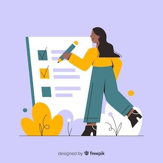 Kobieta pracuje na liście kontrolnej tle