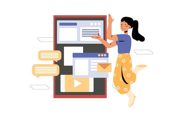 Kobieta pracuje na urządzeniu mobilnym
