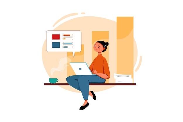 Kobieta pracuje nad sprzedażą marketingu
