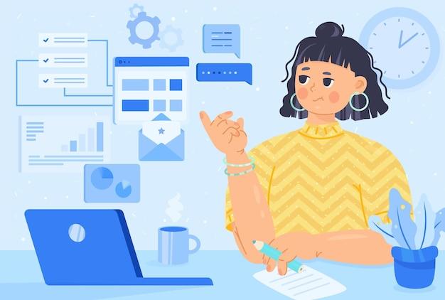 Kobieta pracuje online koncepcja