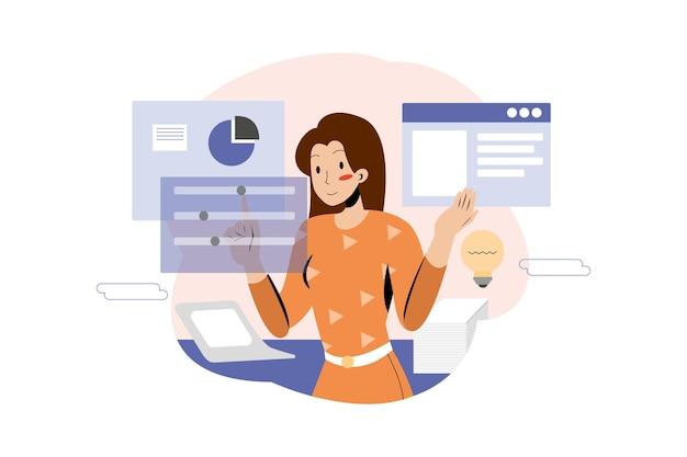 Kobieta pracuje plan biznesowy w biurze