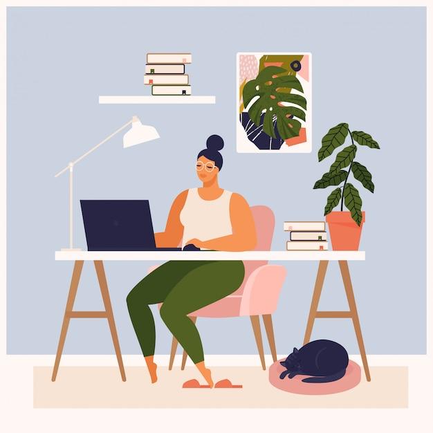 Kobieta pracuje przy jej biurkiem w domu. ma dużo pracy. kobieta pracuje z laptopem przy jej pracy biurkiem i bada ui i ux. ilustracja studenta studiującego w domu.