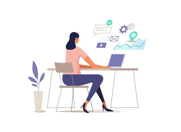 Kobieta pracuje przy komputerze. ilustracja.