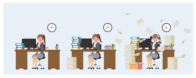 Kobieta pracuje w biurze. zbyt przeciążona praca. przepracowany.
