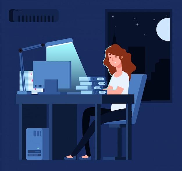 Kobieta pracuje w nocy. nieszczęśliwa zaakcentowana żeńska opóźniona ciężka praca w biurze z dokumentami i komputerowym wektorowym pojęciem