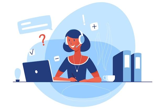 Kobieta pracuje w obsłudze klienta. płaski charakter wektor siedzi przed laptopem i odpowiada za pomocą słuchawek i mikrofonu. ilustracja kreskówka z czatu online.
