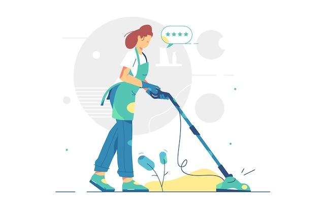 Kobieta pracuje w sprzątaniu ilustracji usługi. kobieta za pomocą odkurzacza w stylu mieszkania klientów. jakość usług sprzątania.