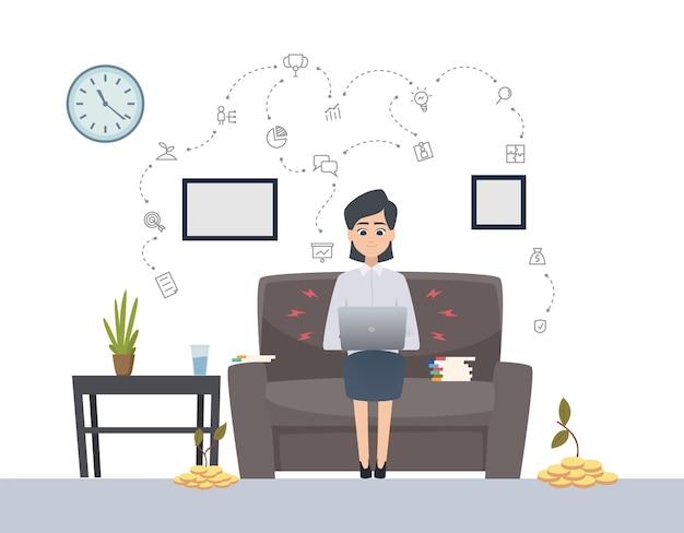 Kobieta pracuje z laptopem. niezależny, koncepcja jednego wektora uruchamiania. kobieta udanego inwestowania. kobieta z laptopa, praca biznesowa ilustracja freelancer