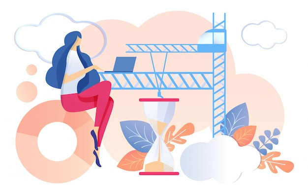 Kobieta pracy notebook klepsydra działa piasek