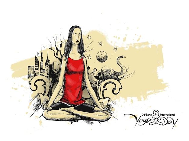 Kobieta praktykowania jogi poza, 21 czerwca międzynarodowy dzień jogi, ręcznie rysować szkic wektor wzór.