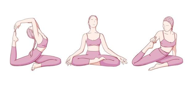 Kobieta praktykuje jogę. pozycje jogi poprawiające elastyczność. ręcznie rysowane szkic ilustracji