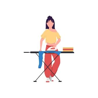 Kobieta prasowanie odzieży płaski kolor ilustracja