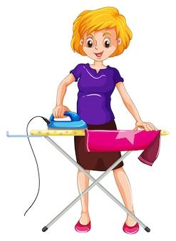 Kobieta prasowanie ubrań na desce do prasowania