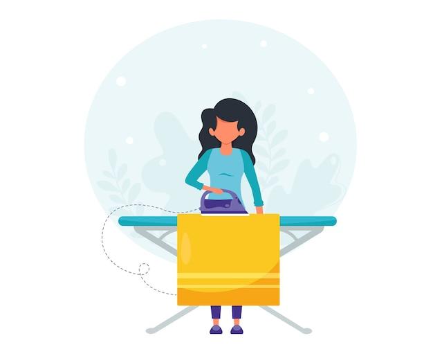Kobieta prasująca ubrania. koncepcja sprzątania domu. kobieta robi sprzątanie domu. w stylu płaskiej.