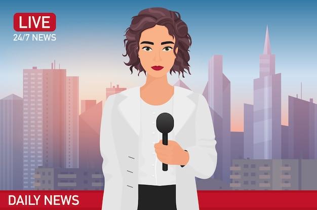 Kobieta prezenterka donosi o najświeższych wiadomościach. ilustracja wiadomości. media w koncepcji telewizji.