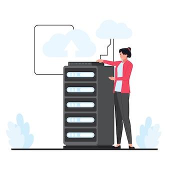 Kobieta prezentuje duży hosting w chmurze na serwerze. ilustracja hostingu płaskiej chmury.