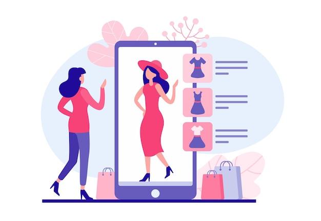 Kobieta próbuje ubrania w ilustracji aplikacji sieci web. postać kobieca wybiera ze sklepu internetowego czerwoną sukienkę i czapkę i praktycznie je ubiera. wirtualna przymierzalnia