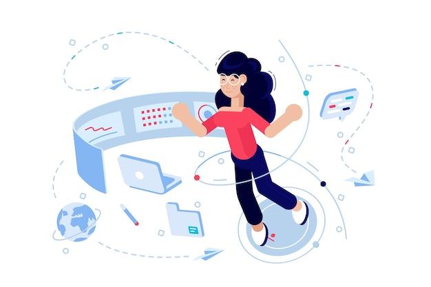Kobieta programista na ilustracji procesu pracy