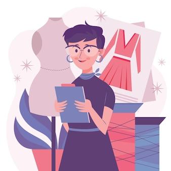 Kobieta projektant mody trzymając schowek