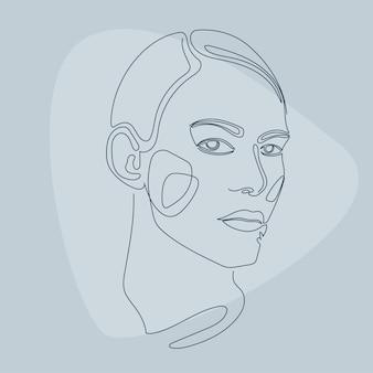 Kobieta przebiegłość portret wzór tła. linia utopiona grafika na plakat kosmetyczny, karta centrum kosmetologii, t shirt peint, ulotka na imprezę dla dziewczynek itp.
