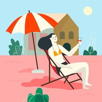 Kobieta przebywa w podwórku staycation