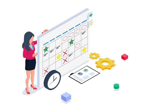Kobieta przedstawia harmonogram w kalendarzu. izometryczny ilustracja uruchamiania.