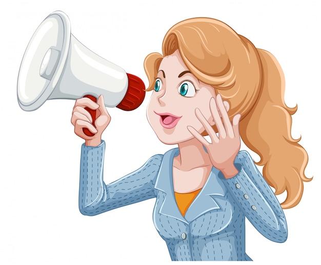 Kobieta przemawia do megafonu