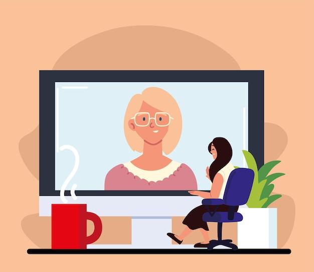 Kobieta Przeprowadzająca Rozmowę Wideo Przez Internet Premium Wektorów