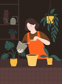 Kobieta przesadzająca rośliny doniczkowe, trzymająca ziemię na kielni. dziewczyna doniczkowa roślina w pokoju miejskiej dżungli. ilustracja wektorowa z postacią kobiecą.