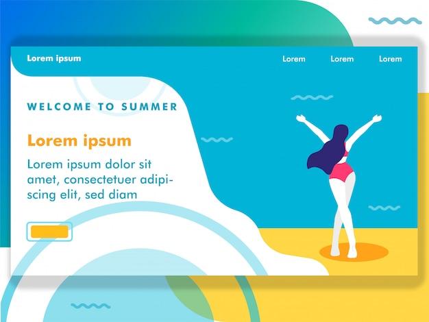 Kobieta przychodzi na plażową ilustrację dla sieci ilustraci