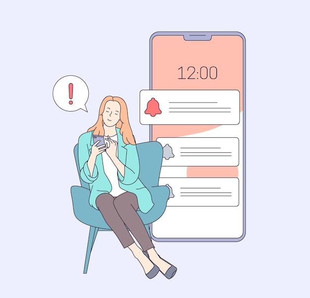 Kobieta przytłoczona koncepcją powiadomień internetowych. kobieta planowania dnia planowania spotkania w aplikacji telefonicznej. płaska ilustracja.