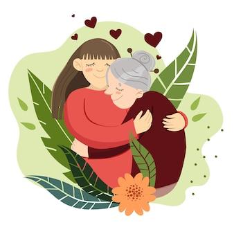 Kobieta przytula babcię. kwiaty i rośliny. szablon na pocztówkę. wizerunek