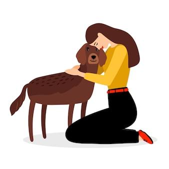Kobieta przytula psa. ilustracja ludzi i zwierząt domowych na białym tle