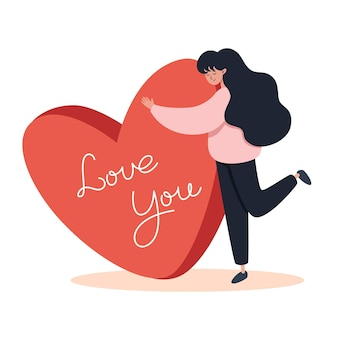 Kobieta przytula wielkie serce na walentynki ilustracja w stylu płaski