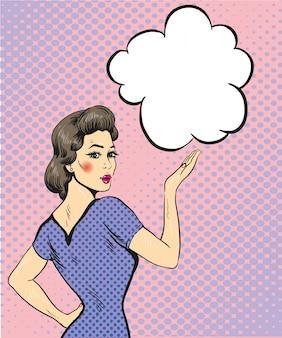 Kobieta punktu ręki znak z mowa bąblem