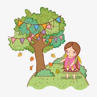 Kobieta rdzenna i drzewo z flagami partii