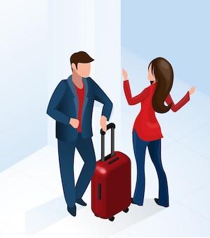 Kobieta recepcjonistka witamy turystę z walizką