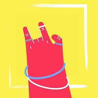 Kobieta ręka pokazuje rockowego gest