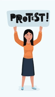 Kobieta ręka trzyma puste afisz pikiety. pusty znak protestu. koncepcja akwizycji głosu rewolucji. ilustracja wektorowa w stylu płaski na baner śr lub plakat +