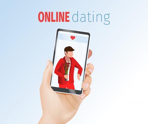 Kobieta ręka trzyma telefon komórkowy z mężczyzną