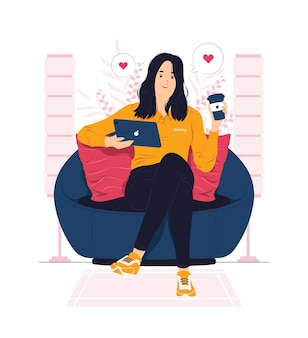 Kobieta relaksuje się w domu i dostaje ilustracja koncepcji przerwy na kawę