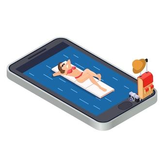 Kobieta relaksuje z pływackim materac na morzu - mobilnej app podróży isometric pojęcie